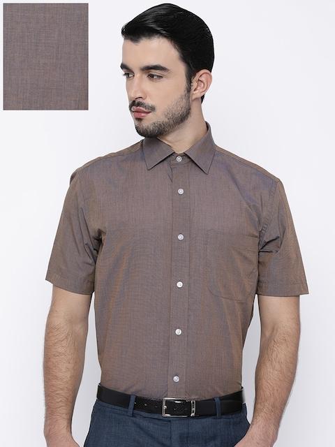 Arrow Men Brown Regular Fit Solid Formal Shirt