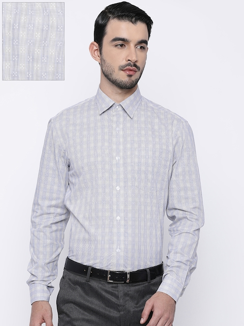 Arrow Men Beige & Navy Blue Slim Fit Checked Formal Shirt
