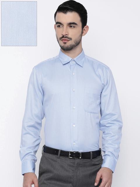 Arrow Men Blue Regular Fit Self-Design Formal Shirt