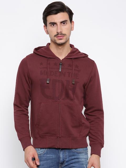 Ed Hardy Men Maroon Printed Hooded Sweatshirt