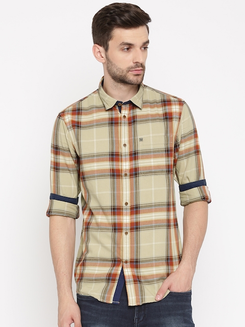 Arrow Blue Jean Co. Men Beige & Red Slim Fit Checked Casual Shirt