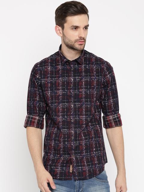 Arrow Blue Jean Co. Men Black & Red Slim Fit Printed Casual Shirt