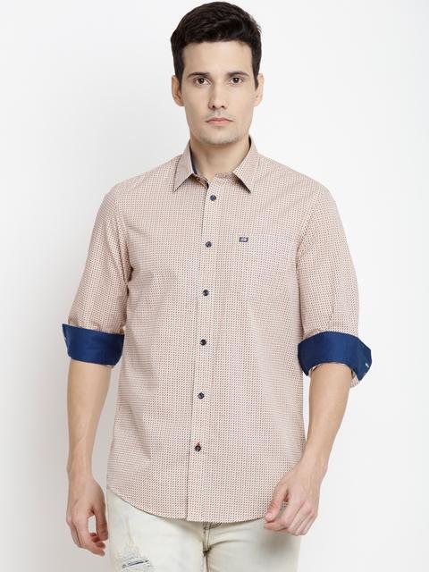 Arrow Sport Men Beige & Red Slim Fit Printed Casual Shirt