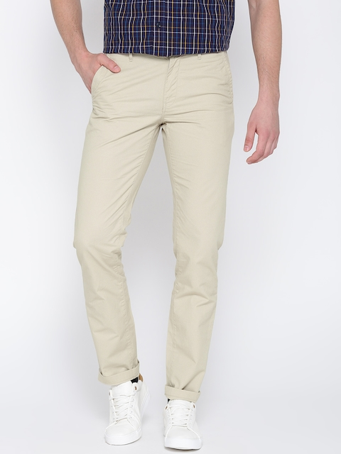 Arrow Sport Men Beige Chrysler Regular Fit Printed Casual Trousers
