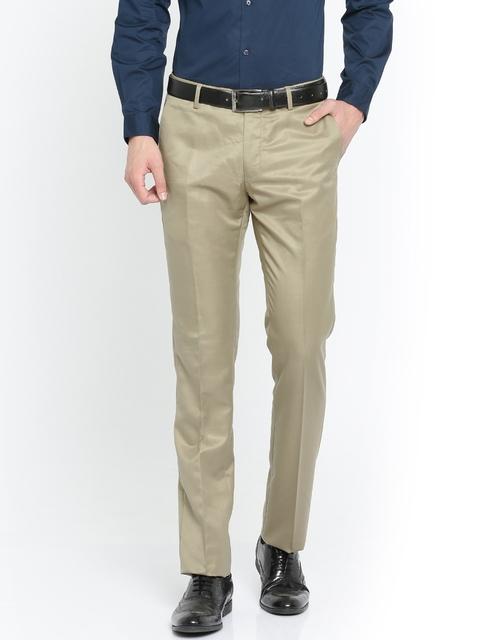 Arrow Men Beige Slim Fit Solid Formal Trousers