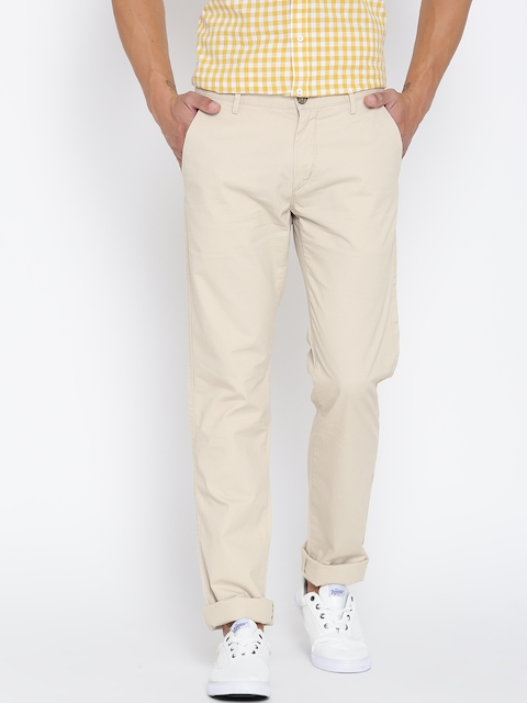 Arrow Sport Men Beige Chrysler Fit Solid Chinos