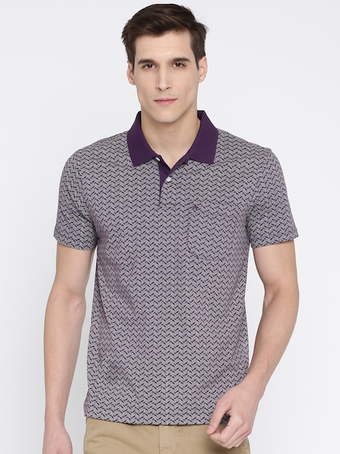 Arrow Men Purple & Beige Printed Polo Collar T-shirt