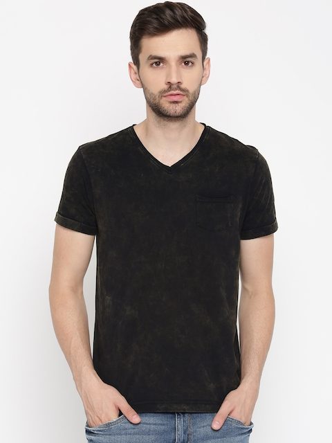 Arrow Blue Jean Co. Men Black Solid V-Neck T-Shirt  available at myntra for Rs.539