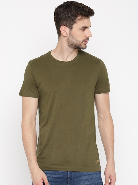 Arrow Blue Jean Co. Men Olive Green Solid Round Neck T-Shirt  available at myntra for Rs.399