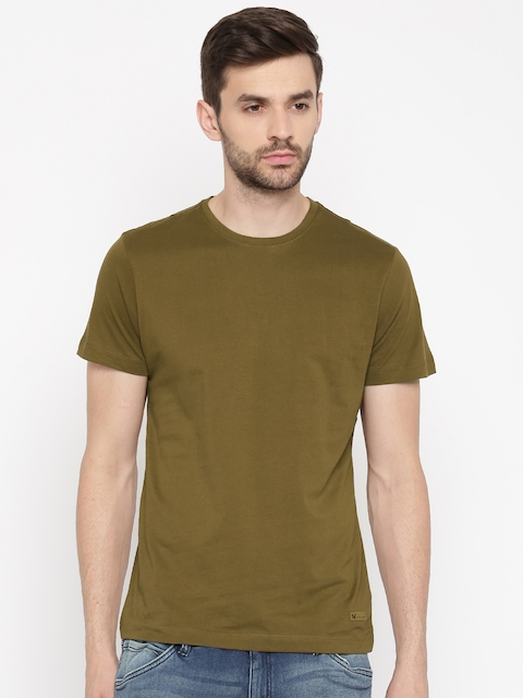 Arrow Blue Jean Co. Men Brown Solid Round Neck T-shirt  available at myntra for Rs.359