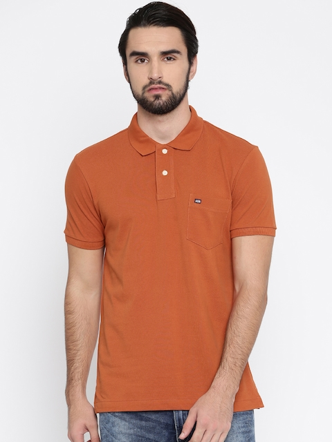 Arrow Sport Men Rust Orange Solid Polo Collar T-shirt  available at myntra for Rs.399