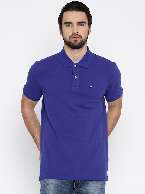 Arrow Sport Men Blue Solid Polo Collar T-shirt  available at myntra for Rs.479