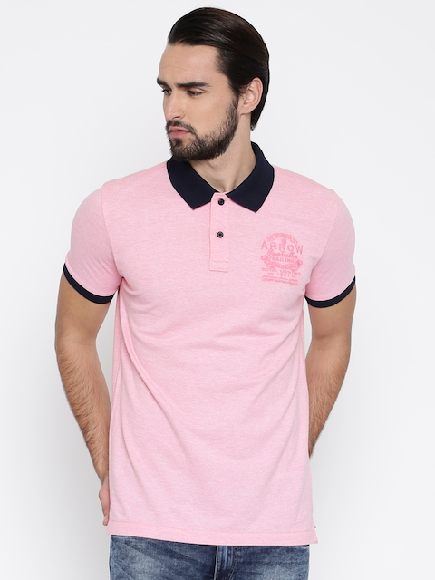 Arrow Sport Men Pink Solid Polo Collar T-shirt  available at myntra for Rs.489