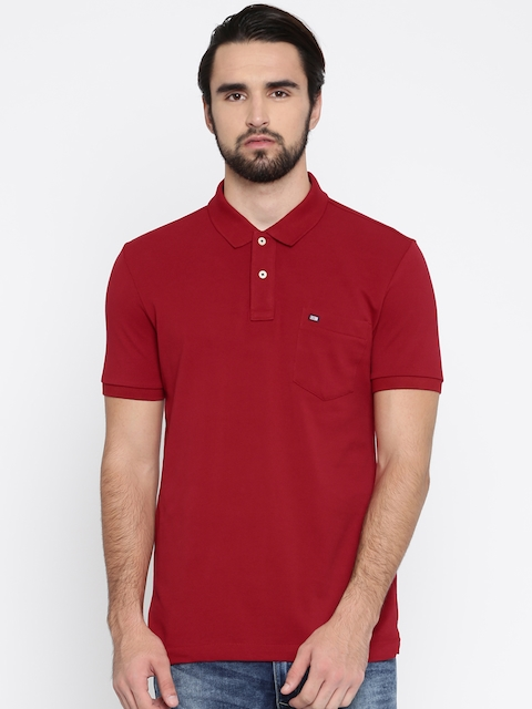 Arrow Sport Men Red Solid Polo Collar T-shirt  available at myntra for Rs.479