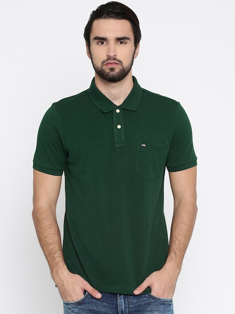 Arrow Sport Men Green Solid Polo Collar T-shirt  available at myntra for Rs.479