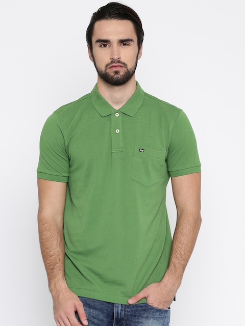 Arrow Sport Men Green Solid Polo Collar T-shirt  available at myntra for Rs.419