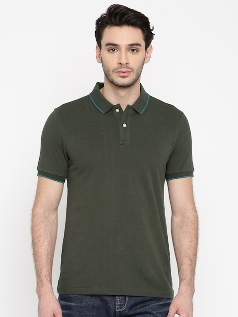Arrow Sport Men Charcoal Grey Solid Polo Collar T-shirt  available at myntra for Rs.519