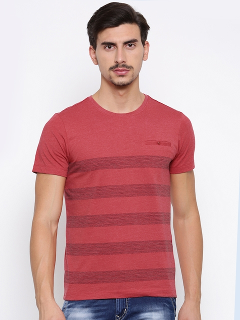 Arrow Sport Men Red Striped Round Neck T-Shirt  available at myntra for Rs.399