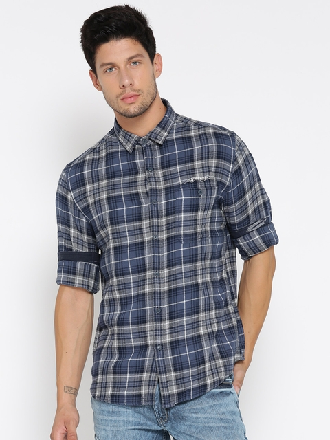 Ed Hardy Men Blue & Grey Checked Casual Shirt