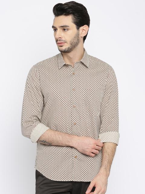 Louis Philippe Men Beige Regular Fit Printed Casual Shirt