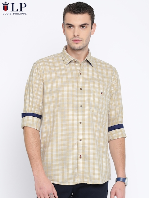 Louis Philippe Sport Men Beige & White Jermyn Tailored Fit Checked Casual Shirt