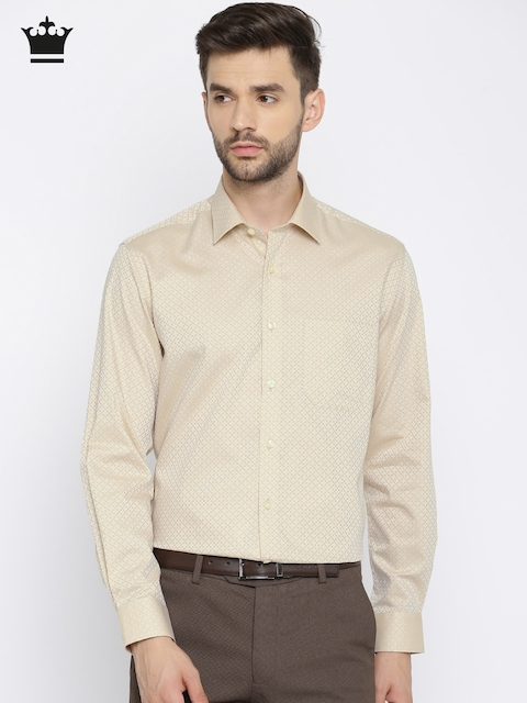 Louis Philippe Men Beige Milano Slim Fit Self-Design Formal Shirt