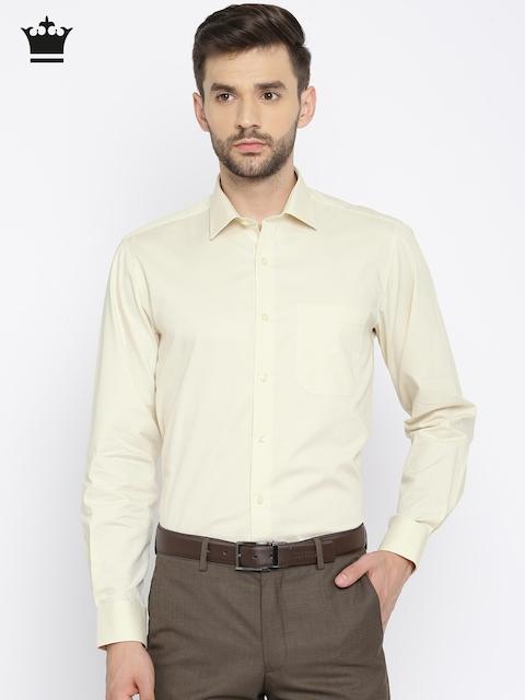 Louis Philippe Men Beige Milano Slim Fit Self Design Formal Shirt