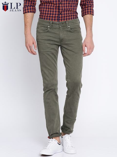 Louis Philippe Jeans Men Olive Green Slim Fit Low-Rise Clean Look Stretchable Jeans