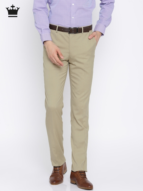 Louis Philippe Men Beige Slim Fit Solid Formal Trousers