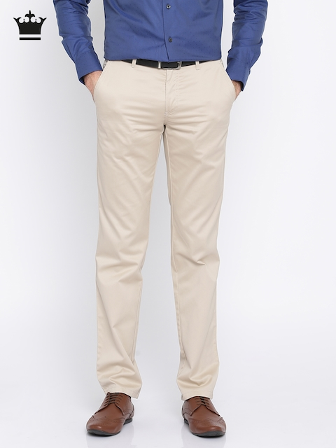 Louis Philippe Men Beige Milano Slim Fit Solid Formal Trousers