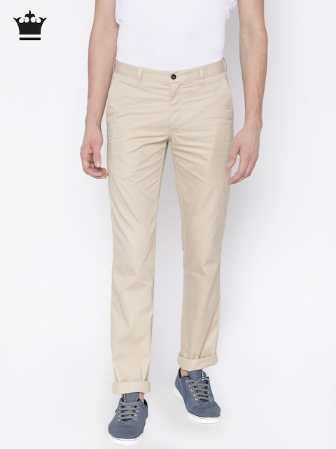 Louis Philippe Men Beige Slim Fit Solid Chinos