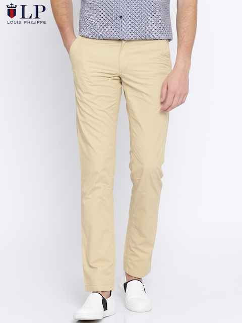 Louis Philippe Sport Men Beige Slim Fit Printed Chinos