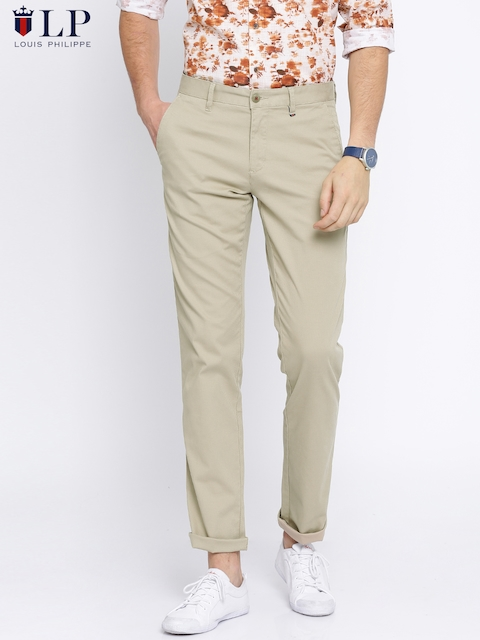 Louis Philippe Sport Men Beige Steven Slim Fit Self Design Regular Trousers