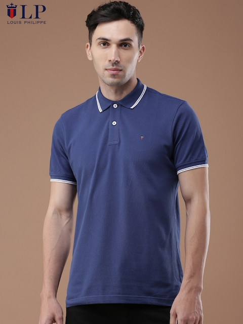 Louis Philippe Men Blue Solid Polo Collar T-shirt  available at myntra for Rs.1349