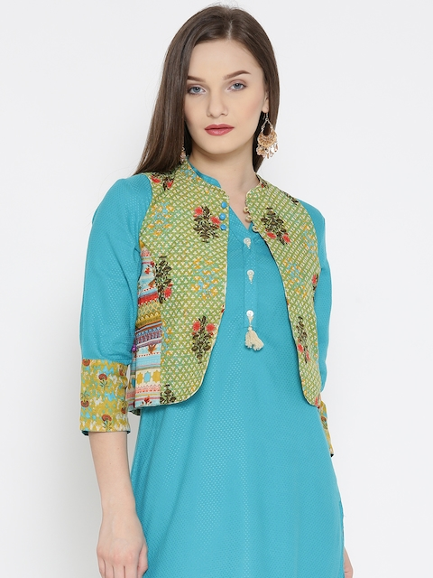 Rangriti Women Green & Cream-Coloured Printed Reversible Ethnic Tailored Jacket