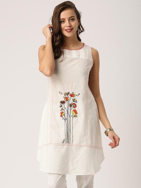 IMARA Women White Embroidered A-Line Kurta