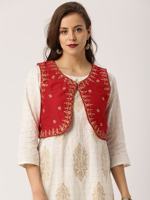 IMARA by Shraddha Kapoor Women Red Embroidered Ethnic Jacket