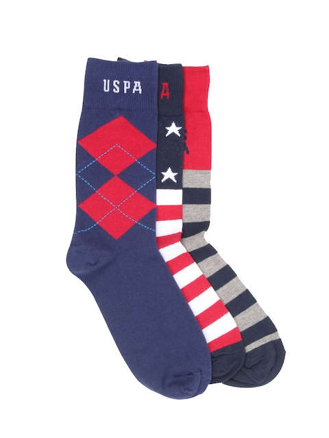 U.S. Polo Assn. Men Pack of 3 Patterned Socks