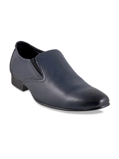 Metro Men Blue Leather Formal Shoes