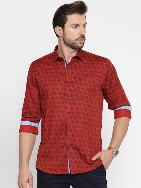 Allen Solly Men Red Regular Fit Printed Casual Shirt