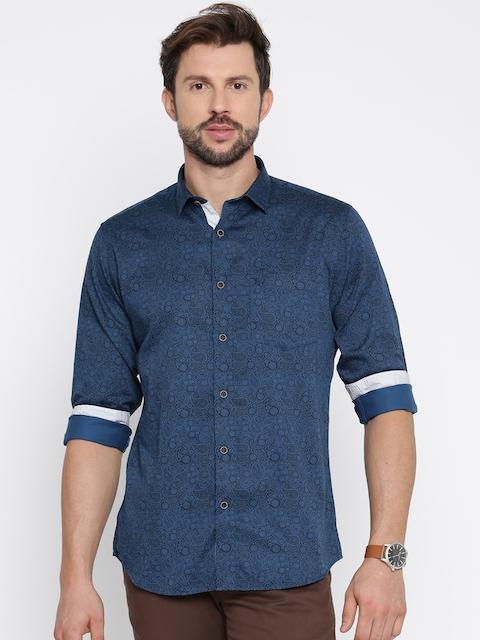 Allen Solly Men Navy Blue & Black Slim Fit Printed Casual Shirt