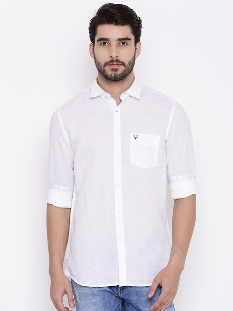 Allen Solly Men White Sport Slim Fit Solid Casual Shirt