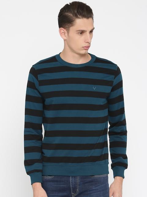 Allen Solly Men Black & Teal Blue Striped Sweatshirt
