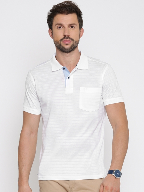 Allen Solly Men White Self Design Polo Collar T-shirt