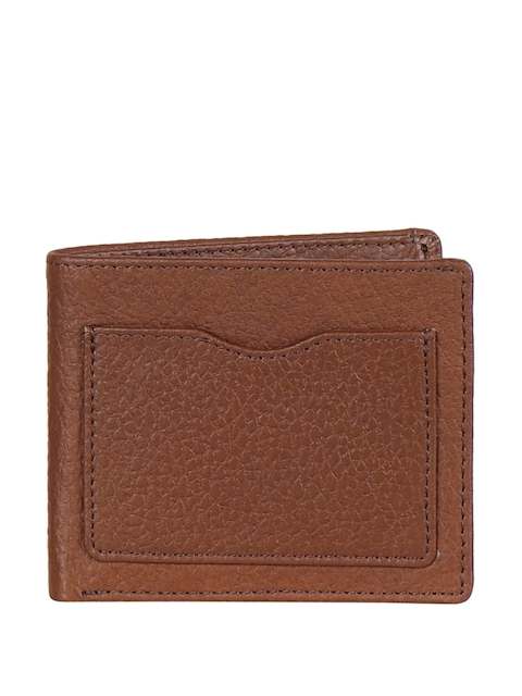 Justanned Men Tan Brown Solid Genuine Leather Two Fold Wallet