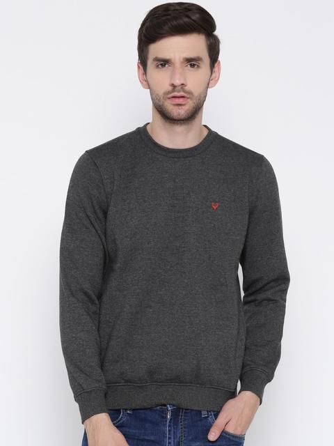 Allen Solly Men Charcoal Grey Solid Sweatshirt