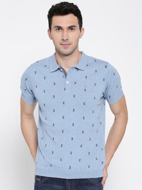 Allen Solly Men Blue Printed Polo Collar T-shirt