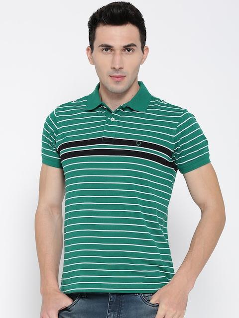 Allen Solly Men Green & WhiteStriped Polo Collar T-shirt