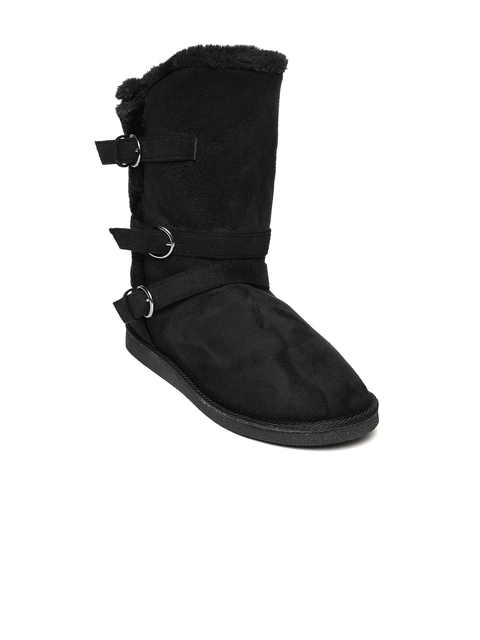 Carlton London Women Black Solid Suede High-Top Flat Boots