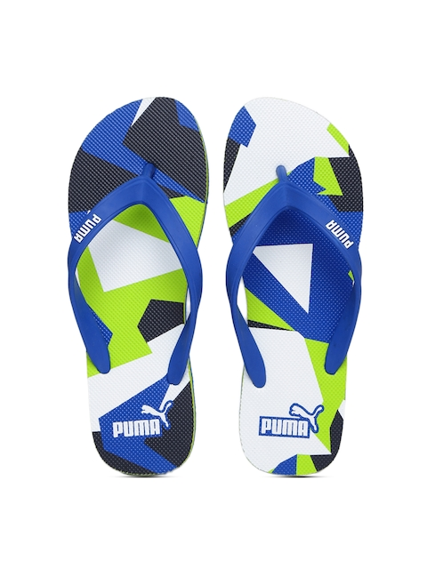 Puma Unisex Blue & Green Printed Sam DP Flip-Flops